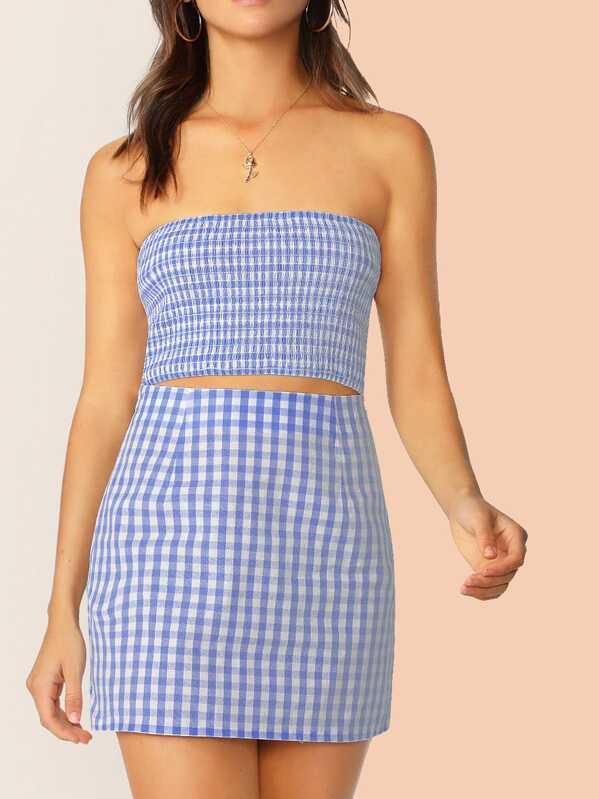 043b12083e Shoptagr   Checker Shirred Bandeau Crop Top & Skirt Set by Shein