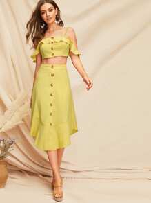 Ruffle Trim Button Front Crop Top & Skirt Set