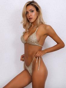 1ae521d9ef Joyfunear Halter Neck Top & Tie Side Thong Bikini | SHEIN UK