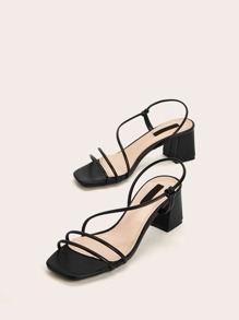 Strappy Slingback Chunky Heels