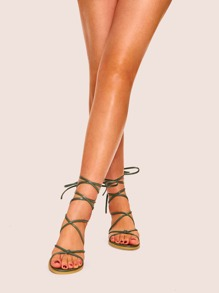 588218b9ee8 Lace-up Gladiator Flat Sandals