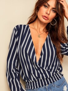 Striped V-neck Shirred Hem Blouse