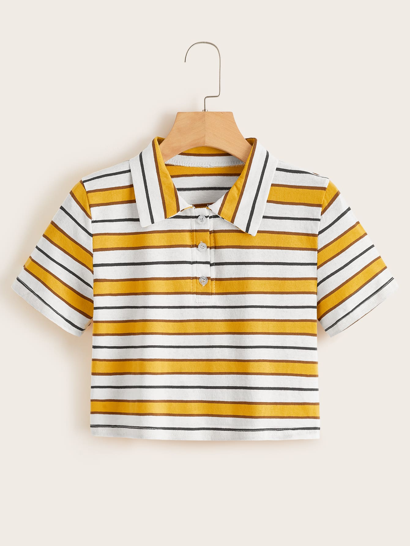 Striped Polo Neck Tee by Romwe