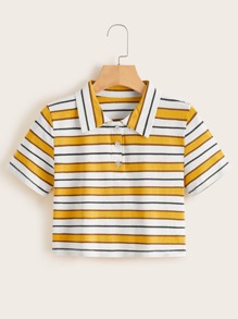 Striped Polo Neck Tee