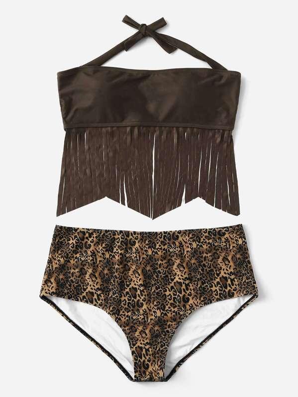 Bandeau Leopardo Con Cintura De Bikini Fleco Alta Grande pSVGqMzU