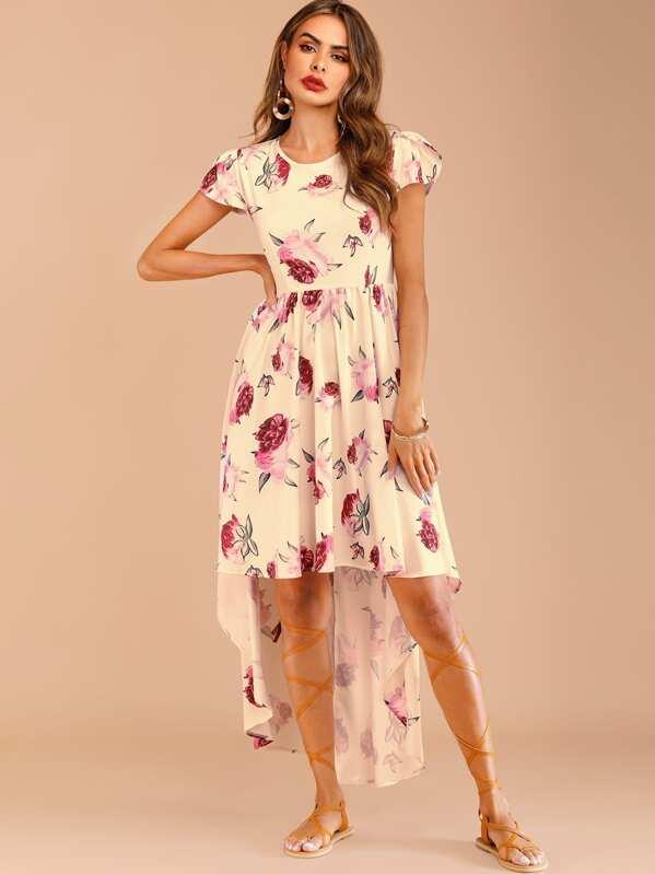 8a1f74c041fdd Floral Print Petal Sleeve Dip Hem Dress