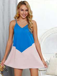 Two Tone V-Back Cami Dress