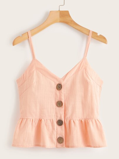 978a22a8e07 Button Front Ruffle Hem Cami Top