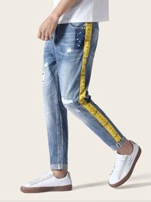 Men Contrast Side Ripped Jeans