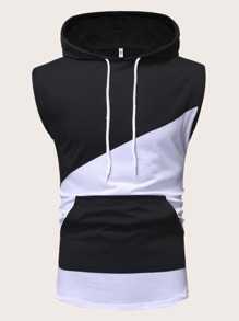 Men Sleeveless Drawstring Spliced Hooded Tee