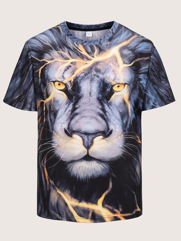 931dace693a Camiseta de hombres con estampado de león 3D