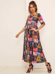 Colorblock Graphic Print Longline Dress