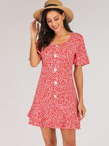 Ditsy Floral Button Front Tea Dress