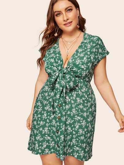 dce9d0d61e2 Plus Knot Ditsy Floral Tea Dress