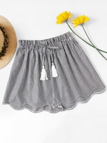 Plus Striped Scallop Hem Shorts