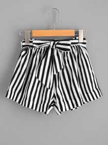 Plus Roll Trim Striped Self Tie Shorts