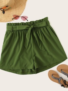 Plus Frill Waist Self Tie Shorts