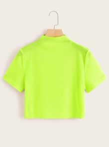 Neon Lime Ribbed Crop Tee