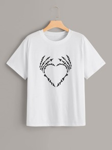 Plus Finger Bone Print Tee