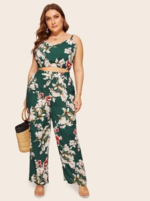 Plus Floral Print Cami Top With Pants