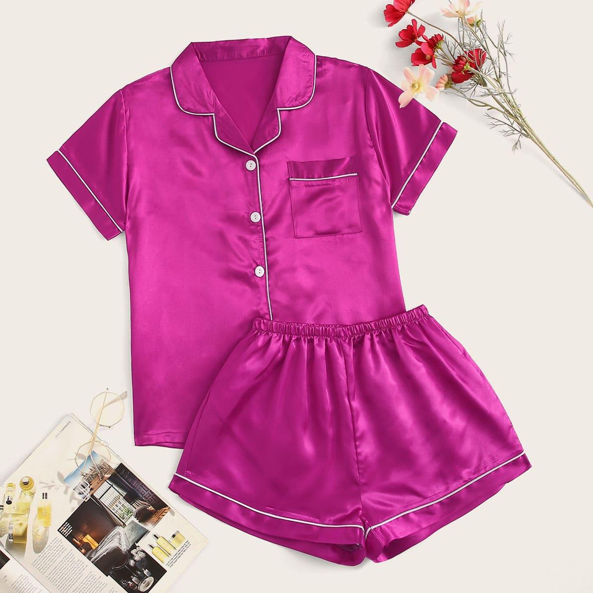 Комплект Атласной Пижамы С Шортами Розовый Неоновый
