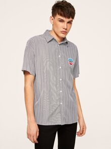 Men Embroidery Patched Front Striped Shirt