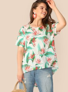 Plus Tropical Print High-low Hem Blouse