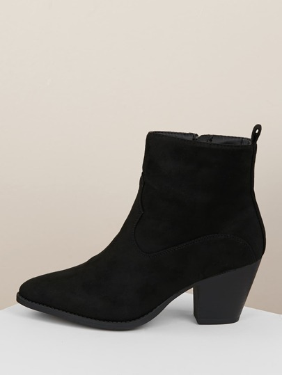 8a9d86880b2d Western Pointed Toe Chunky Heel Booties