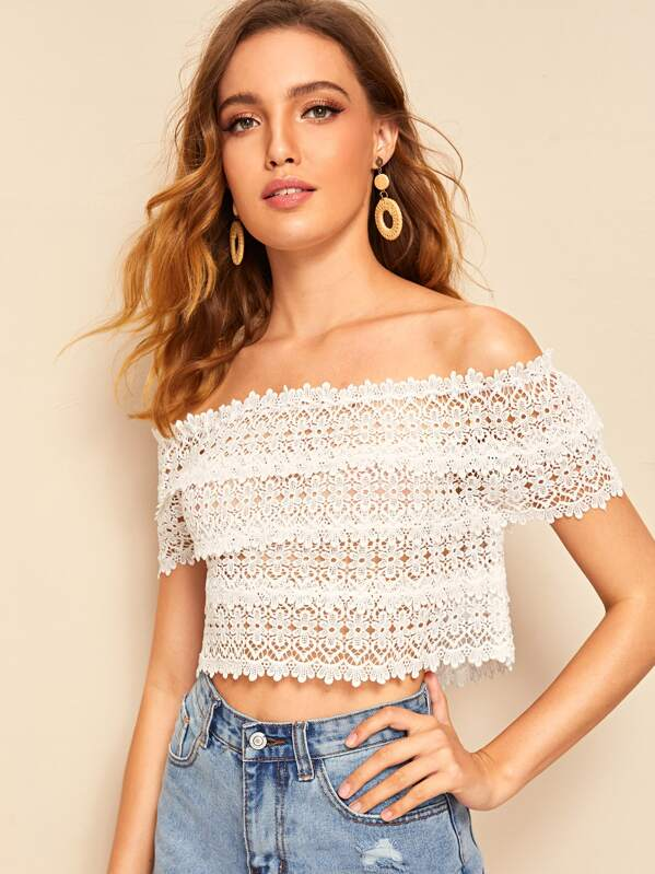ae62322ddc3bc1 Off Shoulder Guipure Lace Crop Top | SHEIN