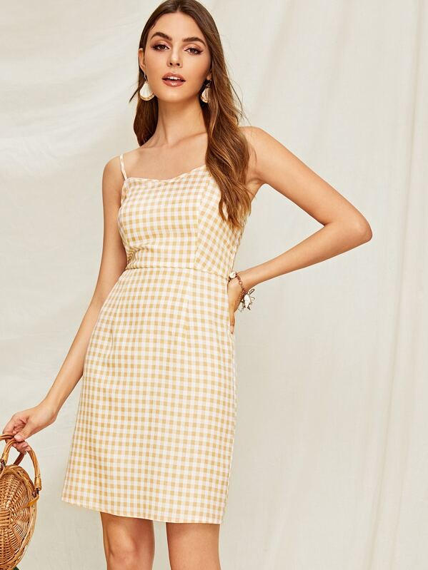 aa4e80509a Gingham Print Shirred Slip Dress