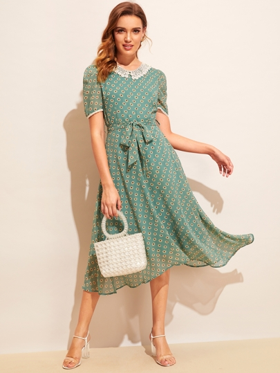 1fbb3a0683f Allover Sunflower Print Lace Trim Belted Dress