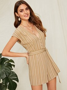 Striped Button Front Deep V Neck Belted Romper