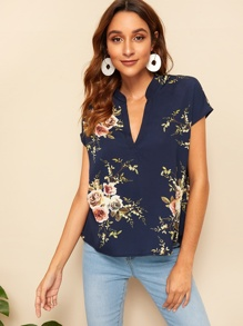 V-neck Floral Print Tunic Top