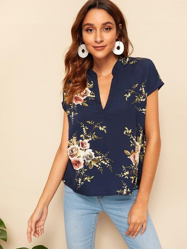 dbc170c258b V-neck Floral Print Tunic Top | SHEIN UK