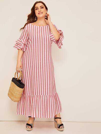 8c9101410 Plus Bell Sleeve Ruffle Trim Striped Dress