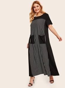 Plus Patch Pocket Front Striped Tee Dress