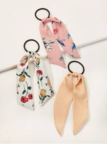Floral & Plain Long Tailed Ponytail Holder 3pack
