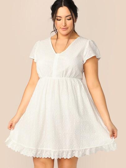 83b7204366 Plus Half Placket Scallop Hem Schiffy Dress