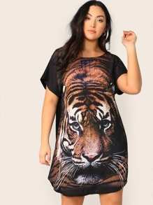 Plus Tiger Print Tunic Dress