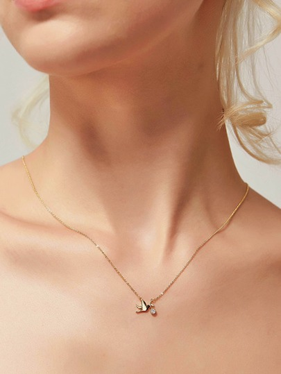 Bird Pendant Chain Necklace 1pc