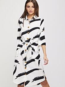 Brush Stroke Print Flap Pocket Detail Belted Shirt Dress