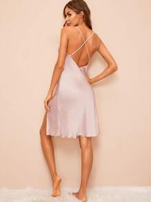 Crisscross Back Split Side Satin Cami Dress