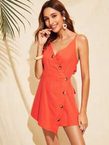 Neon Button Front Tied Back Cami Romper