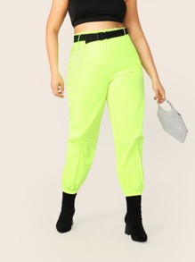 Plus Neon Lime Push Buckle Belted Tapered Pants