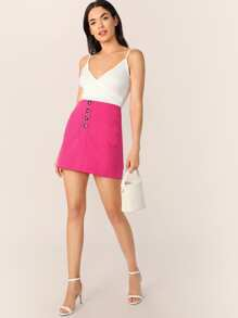 Neon Pink Pocket Front Button Fly Skirt