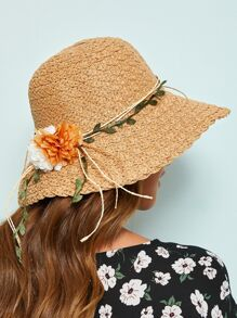 Flower & Leaf Lace Up Cloche Hat