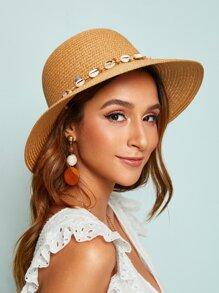 Shell & Bead Decor Floppy Hat
