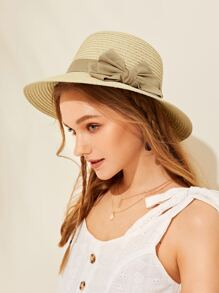 Big Bow Decor Floppy Hat