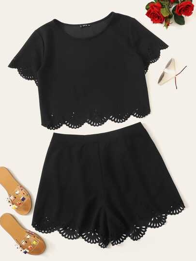 Plus Scalloped Laser Cut Top & Shorts Set