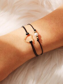 Hollow Heart & Bead Decor Anklet 2pcs